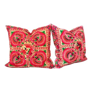 Pink Embroidered Thai Pillows - A Pair