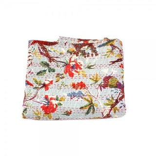 Grey Bird Kantha Throw - Full