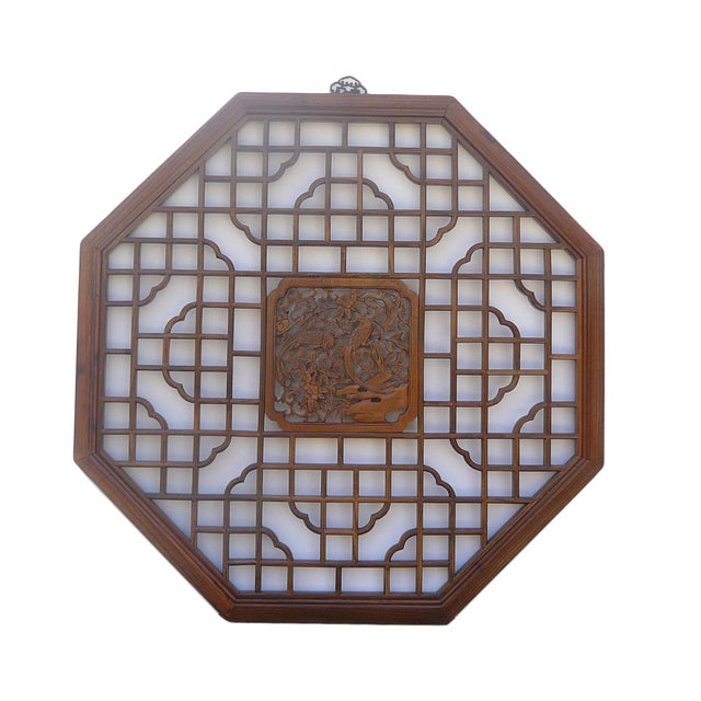 Chinese Octagonal Bird Scene Wood Wall Decor - Image 2 of 5