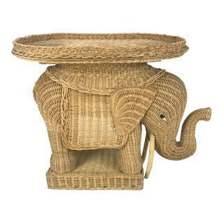 Vintage Woven Wicker Rattan Elephant Side Table