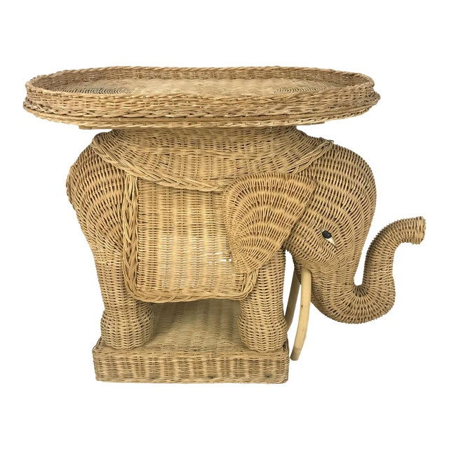 Vintage Woven Wicker Rattan Elephant Side Table - Image 1 of 7