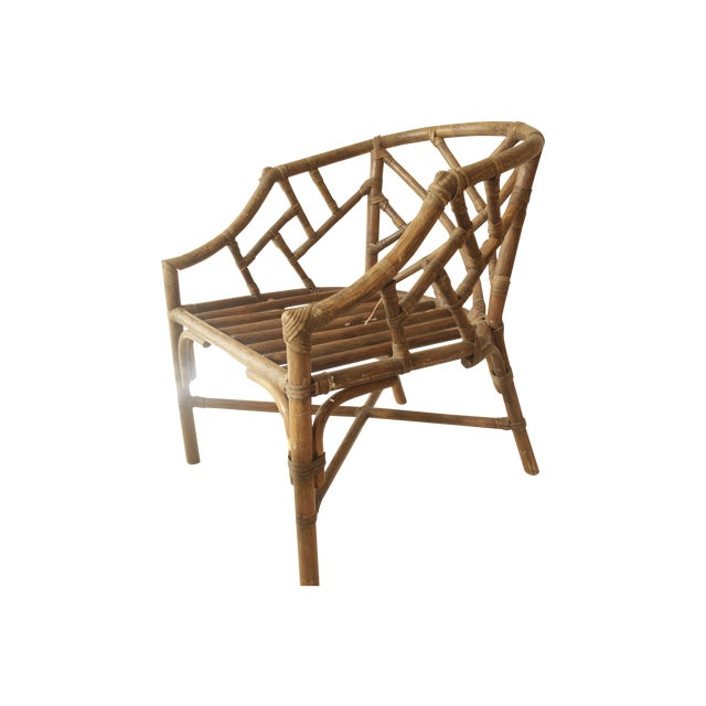 Rattan Chippendale Barrel Armchair - Image 1 of 7