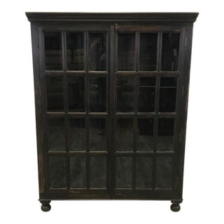 Crate & Barrel Wood Glass Door Wall Unit