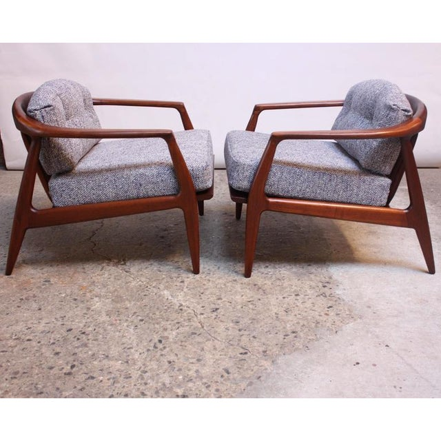 Pair of Staved Walnut Lounge Chairs by Milo Baughman - Image 8 of 11