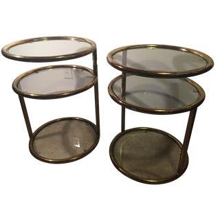 Milo Baughman-Style Round Brass Swivel Tables - A Pair