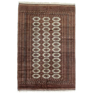 Vintage Hand Knotted Wool Pakistani Bokara Rug - 6′3″ × 9′