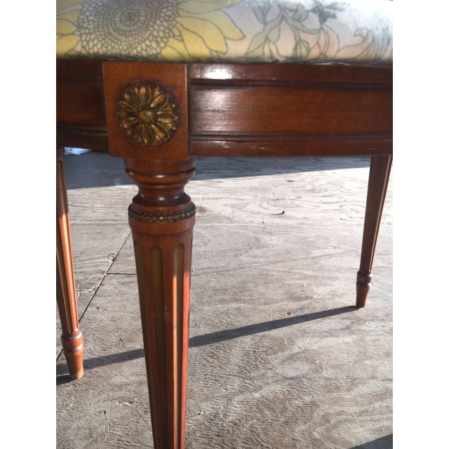 Image of Antique Walnut Kidney Shaped Vanity Bench