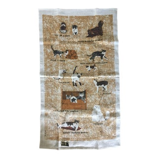 Vintage Linen Cat Tea Towel