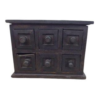 Antique Unique 19th Century French Solid Wood Apothecary Cabinet Jewelry Box