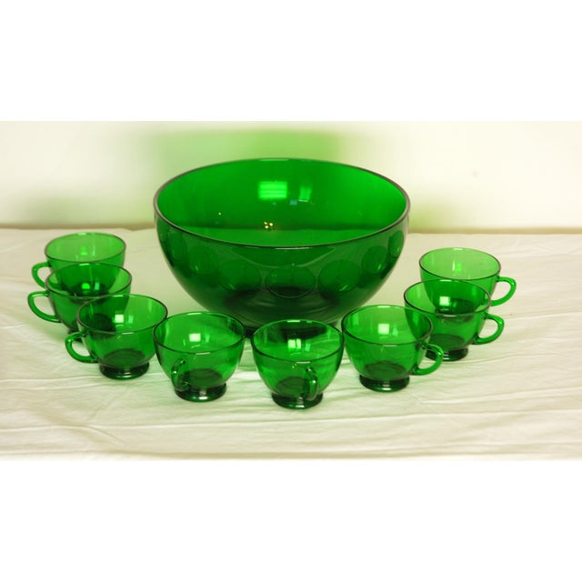 Image of Vintage Reims France Emerald Punch Bowl & Cups
