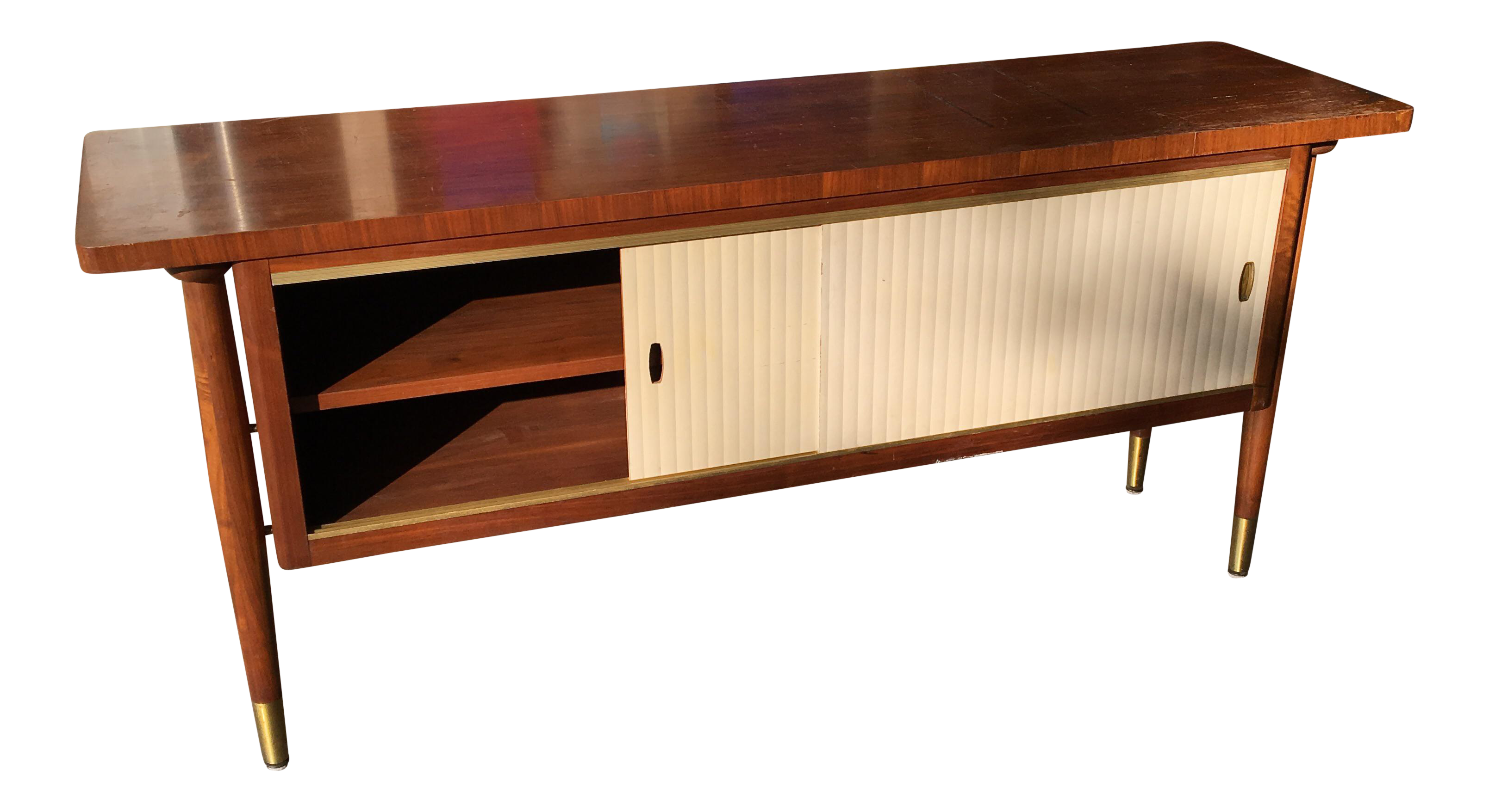 midcentury modern credenza buffet console floating top legs image 1 of 10