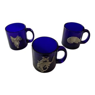 Cobalt Blue Glass Mugs With Pewter Southwestern Images - Set of 3