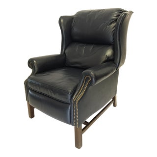 Lane Navy Leather Mid-Century Wingback Recliner