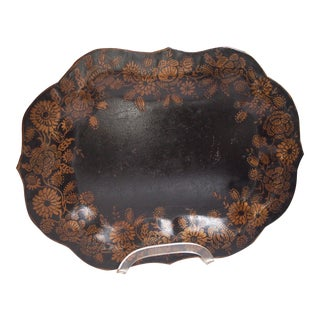 Small, Ebonized 19th Century Tole Tray