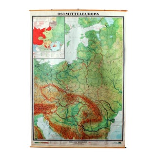 Large Vintage German Classroom Map, East-Central Europe