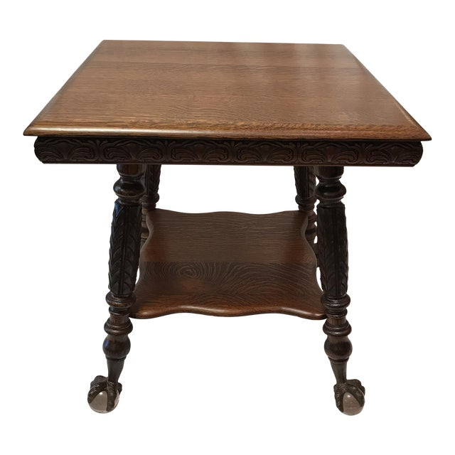 Antique Claw Foot Oak Table - Image 1 of 5