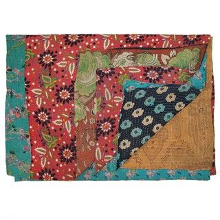 Vintage Sari Kantha Quilt