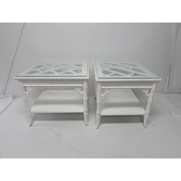 Baker Chinese Chippendale Lacquered Side Tables - A Pair - Image 3 of 6