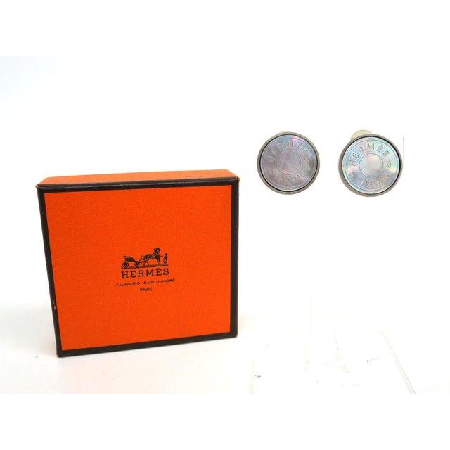 Image of Hermes Clip-On Shell & Palladium Earrings