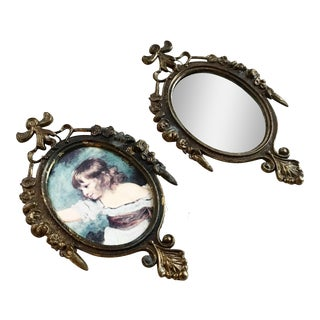 Italian Metal Frame & Mirror Set - A Pair