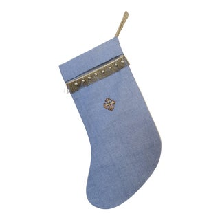 Holiday Appliqued Linen Christmas Stocking