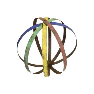 Multicolored Painted Sphere Sculpture