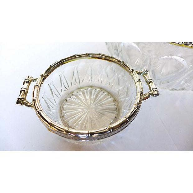 Image of Bamboo Silver-Plate & Pressed Glass Set