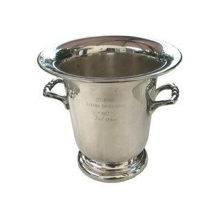 Champagne Wine Cooler Silver Plate and Engraved Stanford Trophy