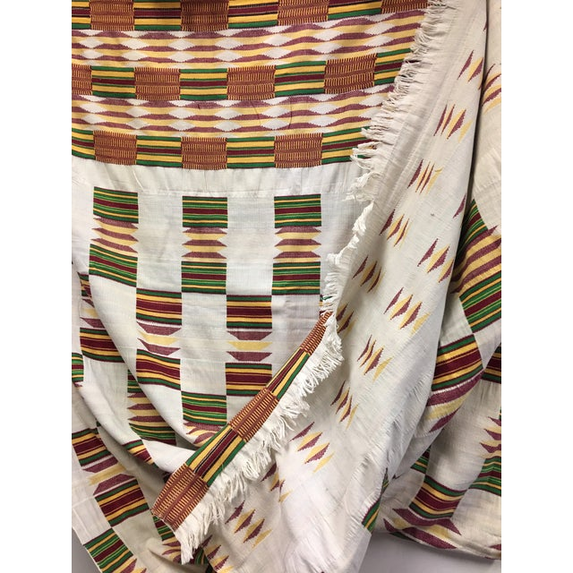 "African Tribal Vintage Textile Throw - 41"" x 79"" - Image 9 of 11"