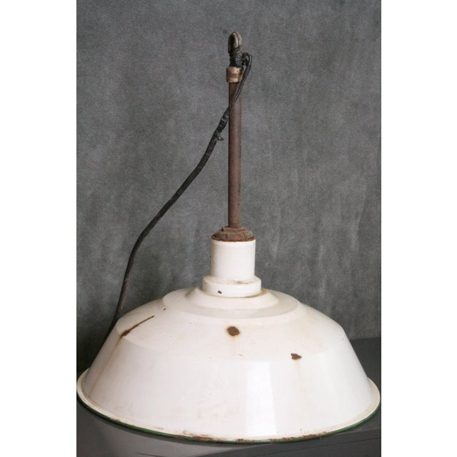 Vintage Industrial White Porcelain Ceiling Light Fixture - Image 8 of 11