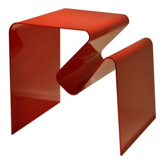 Sculptural Neal Small Op-Art Red Perspex Lucite Magazine Side Table