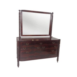 Antique Empire Mahogany Dresser With Mirror
