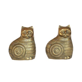 Vintage Brass Cat Bookends