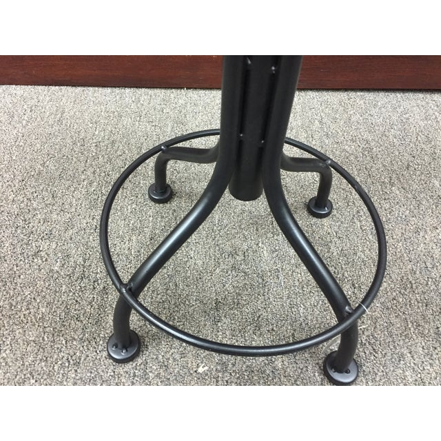 Round Leather Stool with Metal Legs - Image 6 of 7