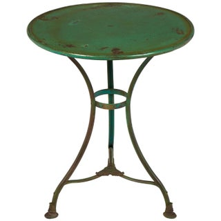 Antique Green Hammered Iron Bistro Table