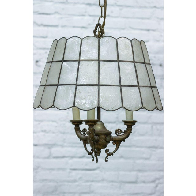 Faux Slag Glass Hanging Lamp on Chain - Image 2 of 3