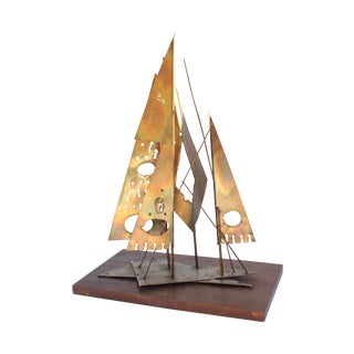 Brutalist Metal Sailboat Sculpture