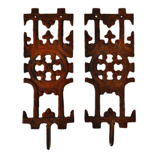 Pair of Asian Inspired Architectural Cast Iron Decorative Wall Art with Coat Hat Hook