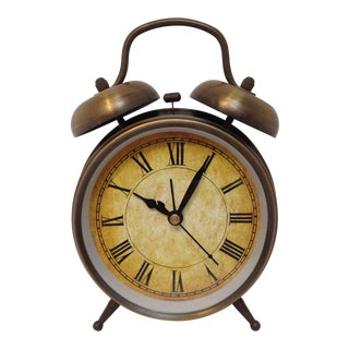 Antique Style Brushed Brass Alarm Clock