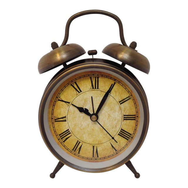 Antique Style Brushed Brass Alarm Clock - Image 1 of 9