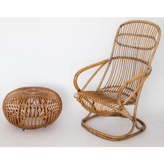 Franco Albini Rattan Lounge Chair & Ottoman - Image 11 of 11