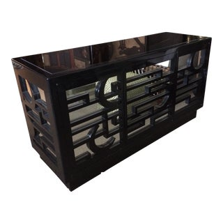 Black Lacquer & Mirrored Sideboard