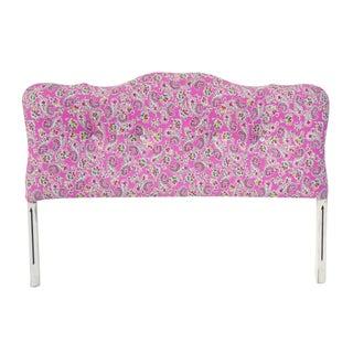 Rhinestone Buttoned Pink Paisley Full Headboard