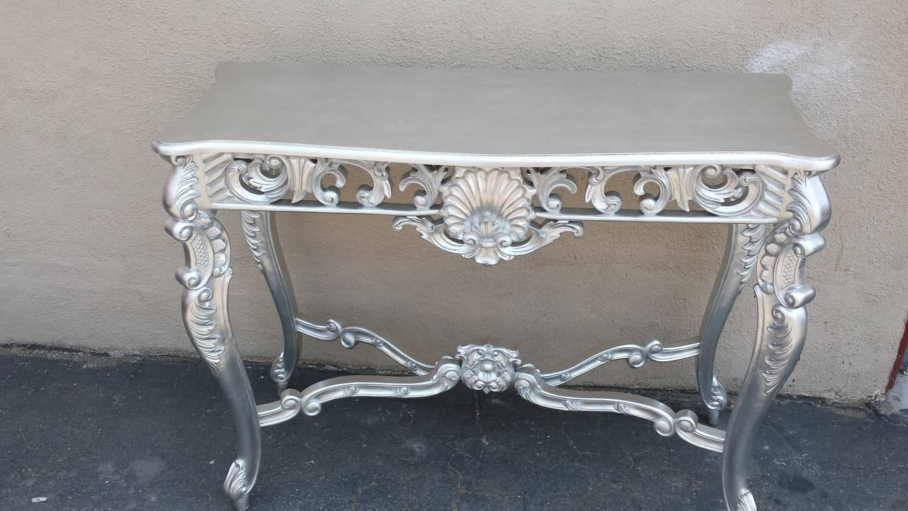 Louis XV Silver Hand Carved Mahogany Console Table   Image 2 Of 6