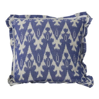 "Large 22"" X 22"" Pillow Cover With Flange . Royal Blue Ikat Pillow Cover . With Zipper . No Insert"