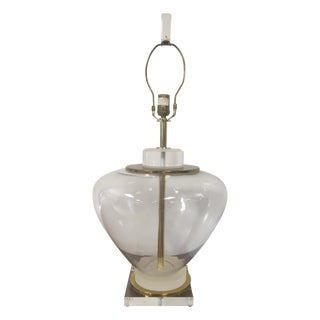Lucite, Glass, and Brass Table Lamp