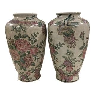 Famille Rose Vintage Victoria Porcelain Vases - A Pair