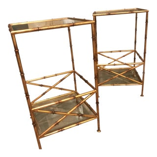 Antique Gold Bamboo Accent Tables/Bassman-Blaine - a Pair