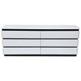 1970s Rougier Gloss White Lacquered Dresser