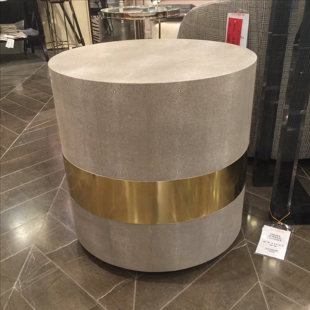 Made Goods Brass Banding Shagreen Side Table - Image 7 of 8